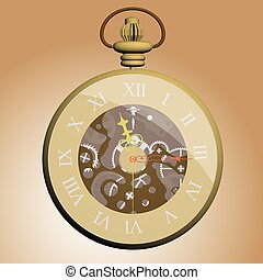 Pocket watch - Vector illustration of a pocket watch. 3D....