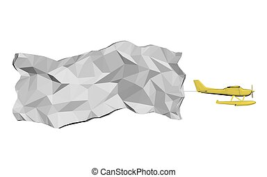 Airplane with a banner - Vector illustration of a flying...