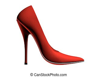 High-heeled shoes - Vector illustration of red high-heeled...
