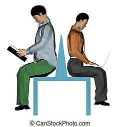 People on a bench - Vector illustration of two men sitting...