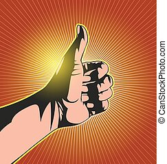 sillhouette thumbs up - Illustration of thumbs up with...