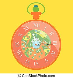Pocket watch - Vector illustration of a pocket watch with a...