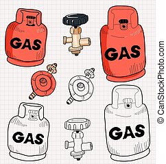 gas - Illustration of propane gas cylinder and accessory