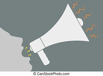 Screaming into a megaphone - Vector illustration of a human...