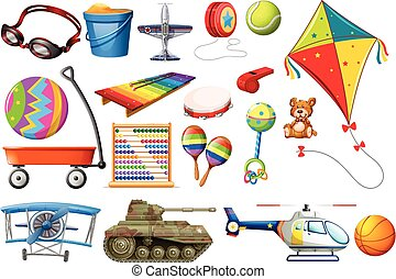 Set of toys and transportations illustration