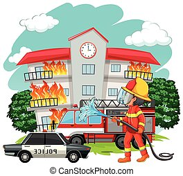 Fire fighter at fire scene illustration
