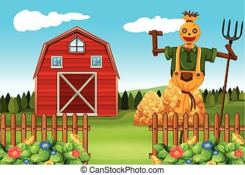 Scarecrow in the farmyard illustration