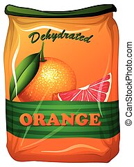 Dehydrated orange in bag illustration