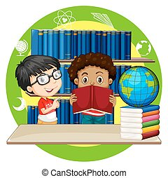Two boys reading books at school