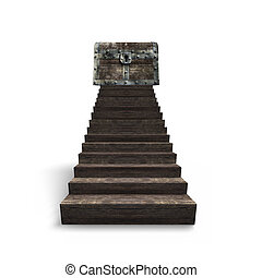 Old treasure chest on top of wood stairs