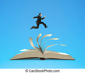Man running on top of flipping pages of open book isolated...