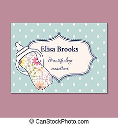 Vintage business card for breastfeeding consultant - Vector...