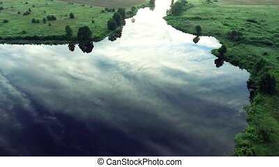 River at morning Birds eye view - River at morning aerial...