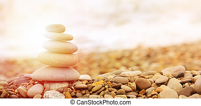 Seashore background with stones - Seashore background with...