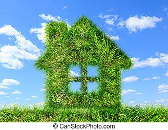 blauwe, gemaakt, woning, Hemel, groene, gras