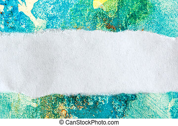 Ragged piece of paper on watercolor background
