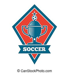 Vector soccer logo, badge, emblem template in red and blue....