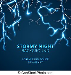 Stormy night with striking lightnings background....