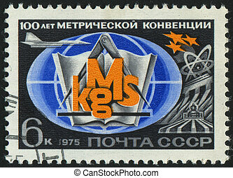 postmark - RUSSIA - CIRCA 1975: stamp printed by Russia,...