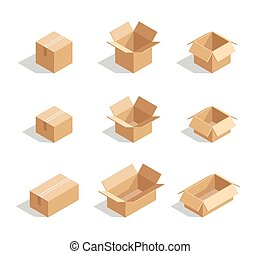 Open boxes set 3d isometric. Package element for delivery,...
