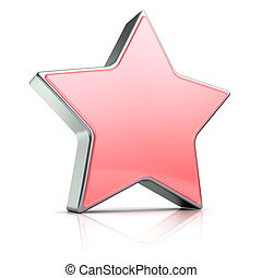 red star - 3d illustration of red star over white background