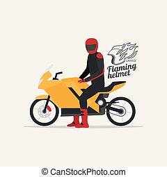 Biker with motorcycle and logo - Biker with motorcycle in...