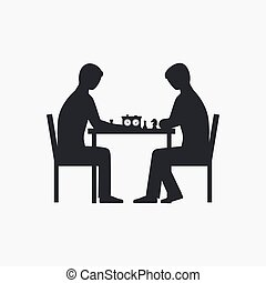 Two people playing chess silhouette. Vector illustration