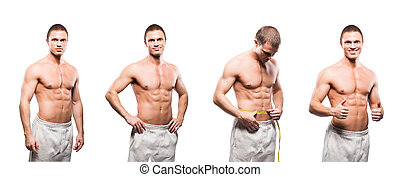 Set of fit and sporty bodybuilder men isolated on white....