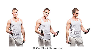 Set of fit and sporty bodybuilder men isolated on white...