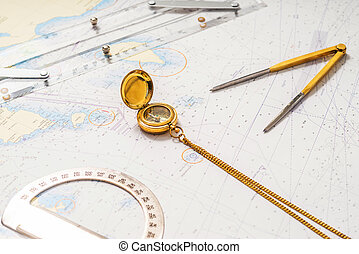 Navigation still-life. Skippers equipment and a map -...