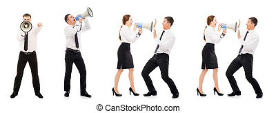 Collage of businesswomen yelling at men isolated on white -...