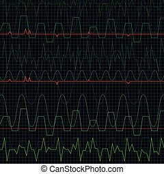 Heartbeat - Background with lots of green fodder cardiograms...