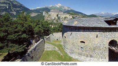 4K Aerial, Fyling Above Fort Victor-Emmanuel, France -...