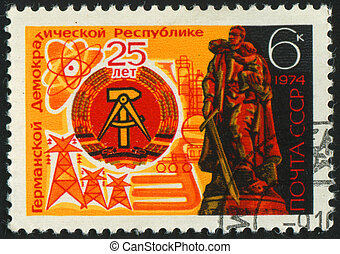 postmark - RUSSIA - CIRCA 1974: stamp printed by Russia,...