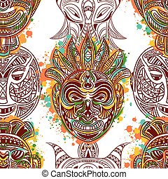 pattern with african tribal mask