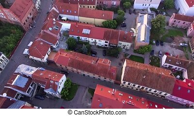 flight over old town in the mornong