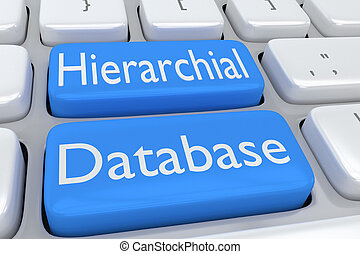 Hierarchical Database concept - 3D illustration of computer...