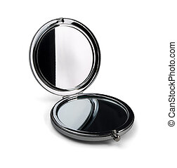 Pocket make-up mirror - Pocket make-up mini mirror isolated...