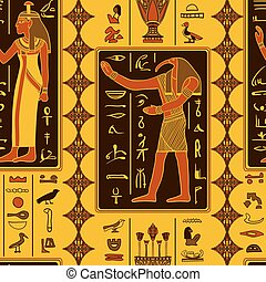 Seamless pattern with egyptian gods