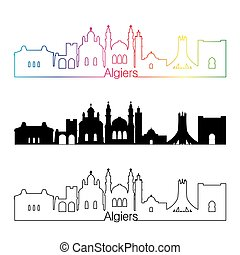 Algiers skyline linear style with rainbow in editable vector...