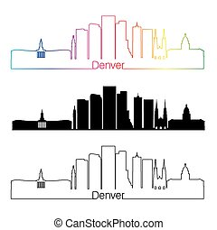 Denver V2 skyline linear style with rainbow - Denver skyline...
