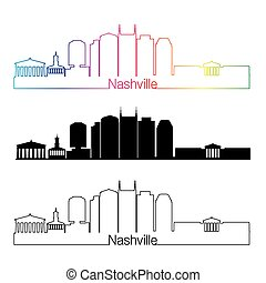 Nashville V2 skyline linear style with rainbow - Nashville...