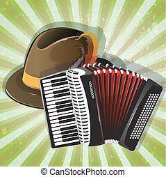 German hat and accordion - German Alpine hat and accordion...