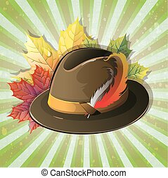 German hat with maple leaves