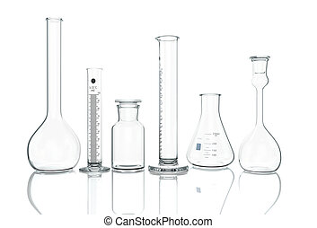 3D render, illustration. Empty laboratory Glassware on white...
