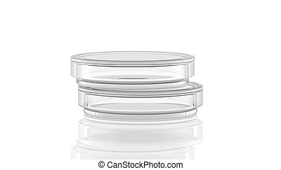 3D render, illustration.Petri dish with reflection, laboratory glass on white background with reflection