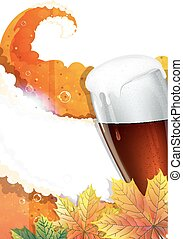 Oktoberfest background - Glass of beer and autumn leaves....