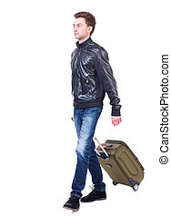 front  view of walking  man  with suitcase.