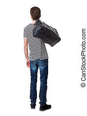 Back view of man with bag.
