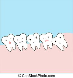 Problems caused by impacted wisdom teeth include. Sleepy tooth of impacted tooth. dystopic teeth. funny cartoon illustration of the emotions of the teeth, for children information in dentistry